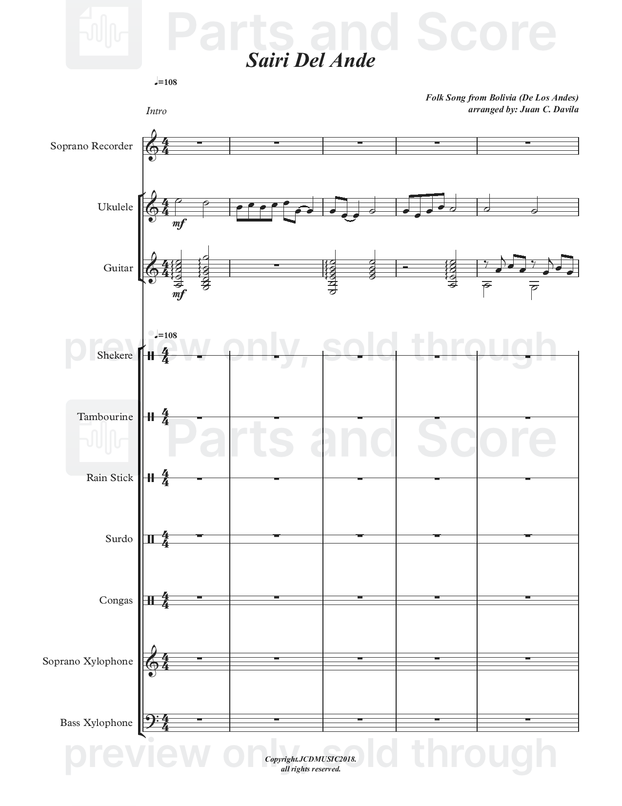 sairi del ande (folk song from bolivia) arranged for orff ensemble | parts  and score  parts and score